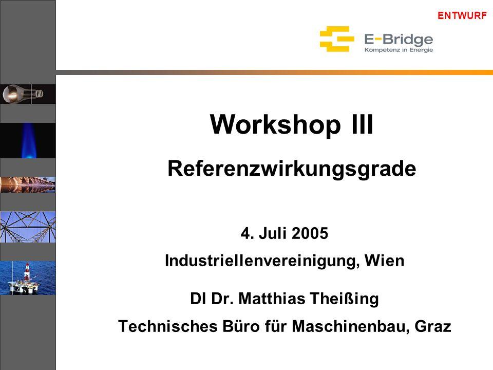 ENTWURF Workshop III Referenzwirkungsgrade 4. Juli 2005 Industriellenvereinigung, Wien DI Dr. Matthias Theißing Technisches Büro für Maschinenbau, Gra