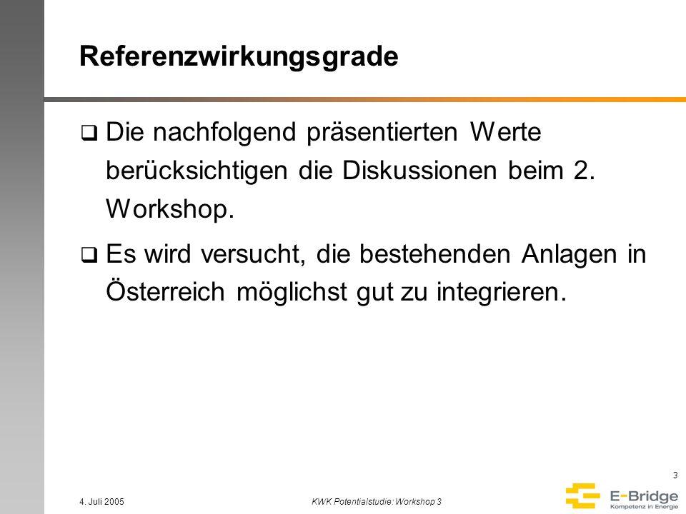 4. Juli 2005KWK Potentialstudie: Workshop 3 3 Referenzwirkungsgrade Die nachfolgend präsentierten Werte berücksichtigen die Diskussionen beim 2. Works