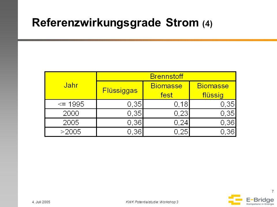 4. Juli 2005KWK Potentialstudie: Workshop 3 8 Referenzwirkungsgrade Strom (5)