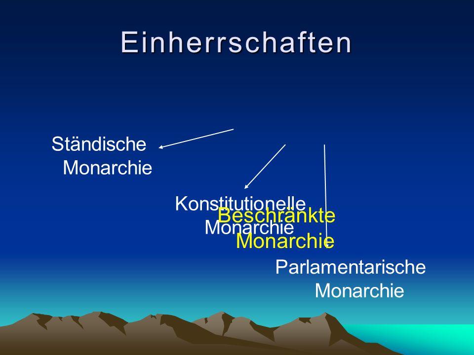 Einherrschaften Ständische Monarchie Konstitutionelle Monarchie Parlamentarische Monarchie Beschränkte Monarchie