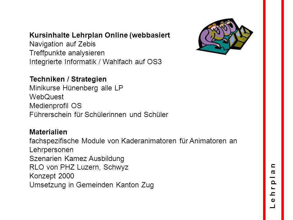 L e h r p l a n Kursinhalte Lehrplan Online (webbasiert Navigation auf Zebis Treffpunkte analysieren Integrierte Informatik / Wahlfach auf OS3 Technik
