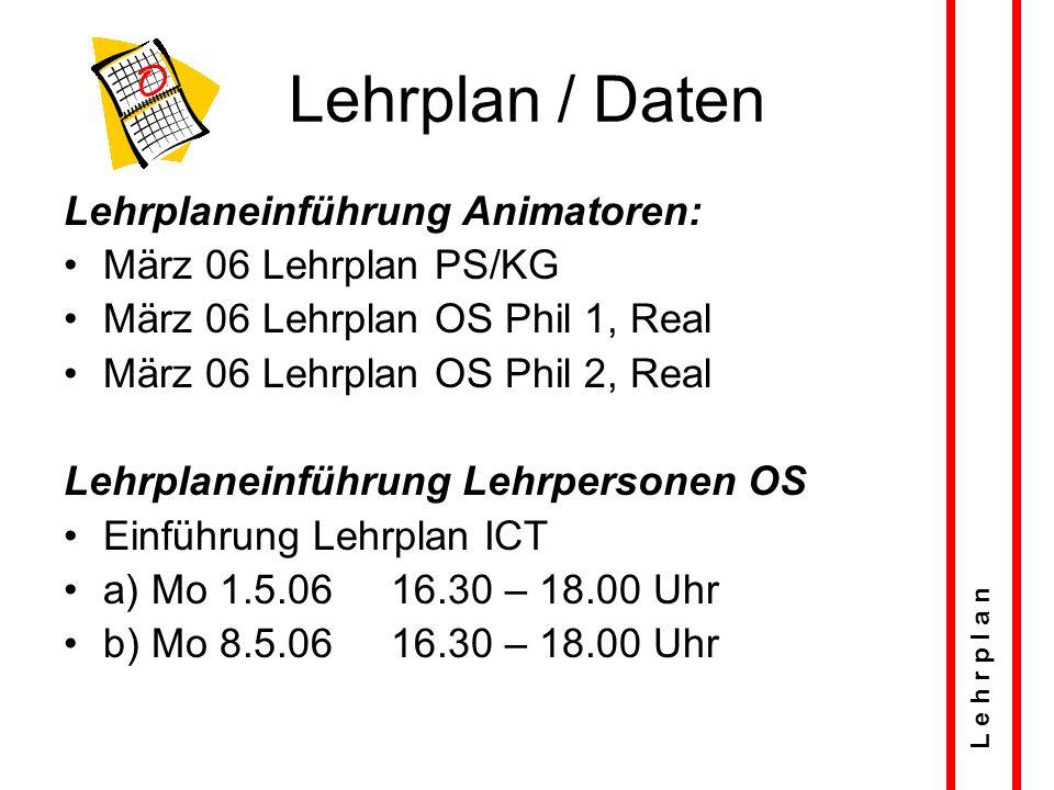 Lehrplan / Daten Lehrplaneinführung Animatoren: März 06 Lehrplan PS/KG März 06 Lehrplan OS Phil 1, Real März 06 Lehrplan OS Phil 2, Real Lehrplaneinführung Lehrpersonen OS Einführung Lehrplan ICT a) Mo 1.5.06 16.30 – 18.00 Uhr b) Mo 8.5.06 16.30 – 18.00 Uhr L e h r p l a n