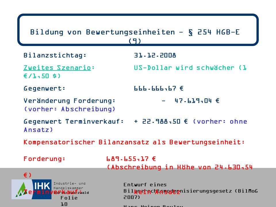 Industrie- und Handelskammer Nordschwarzwald Entwurf eines Bilanzrechtsmodernisierungsgesetz (BilMoG 2007) Hans-Heiner Bouley Bildung von Bewertungseinheiten - § 254 HGB-E (9) Bilanzstichtag:31.12.2008 Zweites Szenario:US-Dollar wird schwächer (1 /1,50 $) Gegenwert:666.666,67 Veränderung Forderung:- 47.619,04 (vorher: Abschreibung) Gegenwert Terminverkauf:+ 22.988,50 (vorher: ohne Ansatz) Kompensatorischer Bilanzansatz als Bewertungseinheit: Forderung:689.655,17 (Abschreibung in Höhe von 24.630,54 ) Terminverkauf:kein Ansatz Folie 10