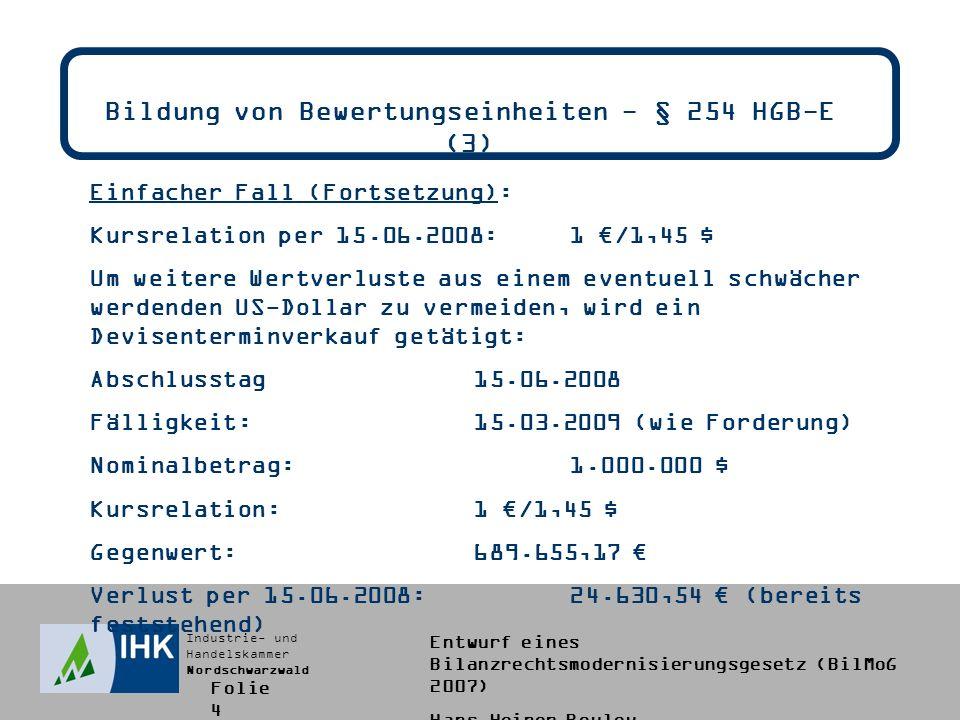 Industrie- und Handelskammer Nordschwarzwald Entwurf eines Bilanzrechtsmodernisierungsgesetz (BilMoG 2007) Hans-Heiner Bouley Bildung von Bewertungseinheiten - § 254 HGB-E (3) Einfacher Fall (Fortsetzung): Kursrelation per 15.06.2008:1 /1,45 $ Um weitere Wertverluste aus einem eventuell schwächer werdenden US-Dollar zu vermeiden, wird ein Devisenterminverkauf getätigt: Abschlusstag15.06.2008 Fälligkeit:15.03.2009 (wie Forderung) Nominalbetrag:1.000.000 $ Kursrelation:1 /1,45 $ Gegenwert:689.655,17 Verlust per 15.06.2008:24.630,54 (bereits feststehend) Folie 4