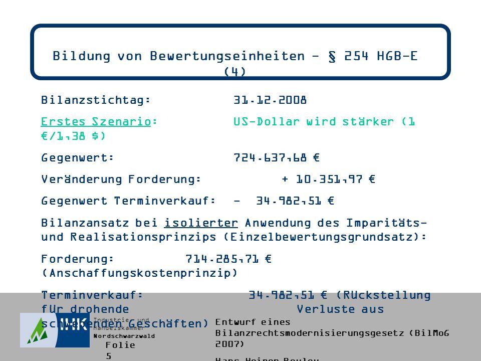 Industrie- und Handelskammer Nordschwarzwald Entwurf eines Bilanzrechtsmodernisierungsgesetz (BilMoG 2007) Hans-Heiner Bouley Zeitwertbewertung des § 253 Abs.