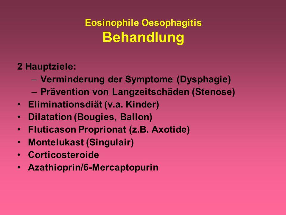 Eosinophile Oesophagitis Behandlung 2 Hauptziele: –Verminderung der Symptome (Dysphagie) –Prävention von Langzeitschäden (Stenose) Eliminationsdiät (v