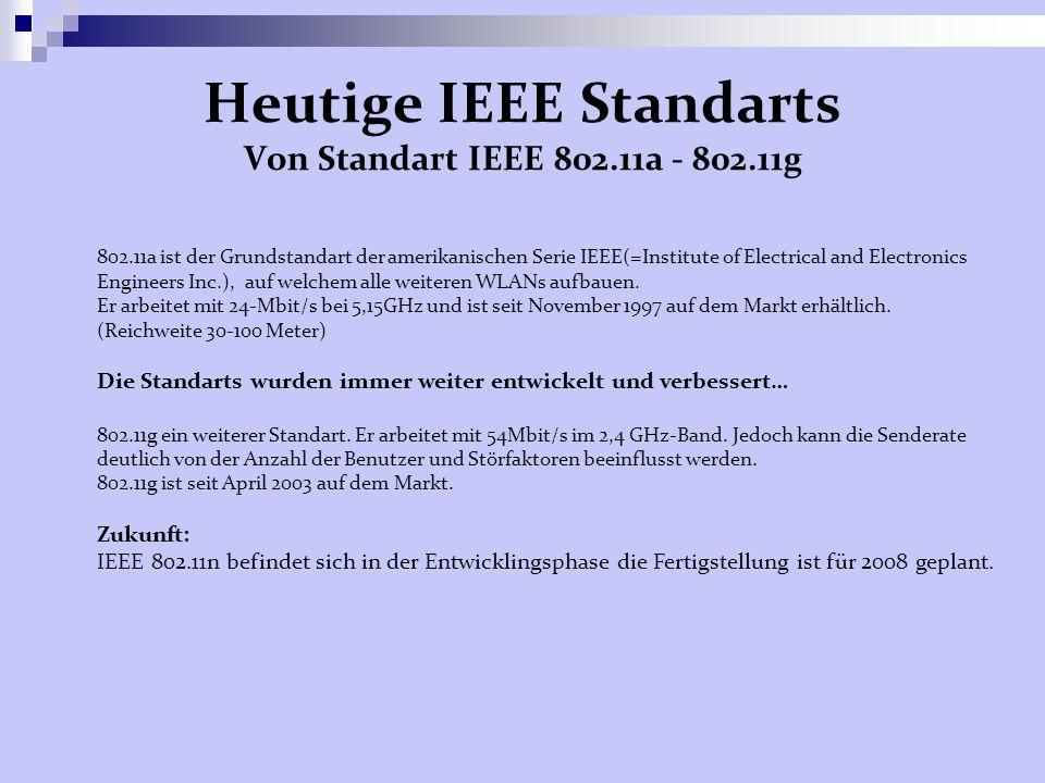 Heutige IEEE Standarts Von Standart IEEE 802.11a - 802.11g 802.11a ist der Grundstandart der amerikanischen Serie IEEE(=Institute of Electrical and Electronics Engineers Inc.), auf welchem alle weiteren WLANs aufbauen.