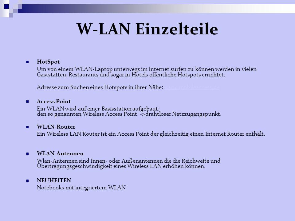 W-LAN Einzelteile HotSpot Um von einem WLAN-Laptop unterwegs im Internet surfen zu können werden in vielen Gaststätten, Restaurants und sogar in Hotels öffentliche Hotspots errichtet.