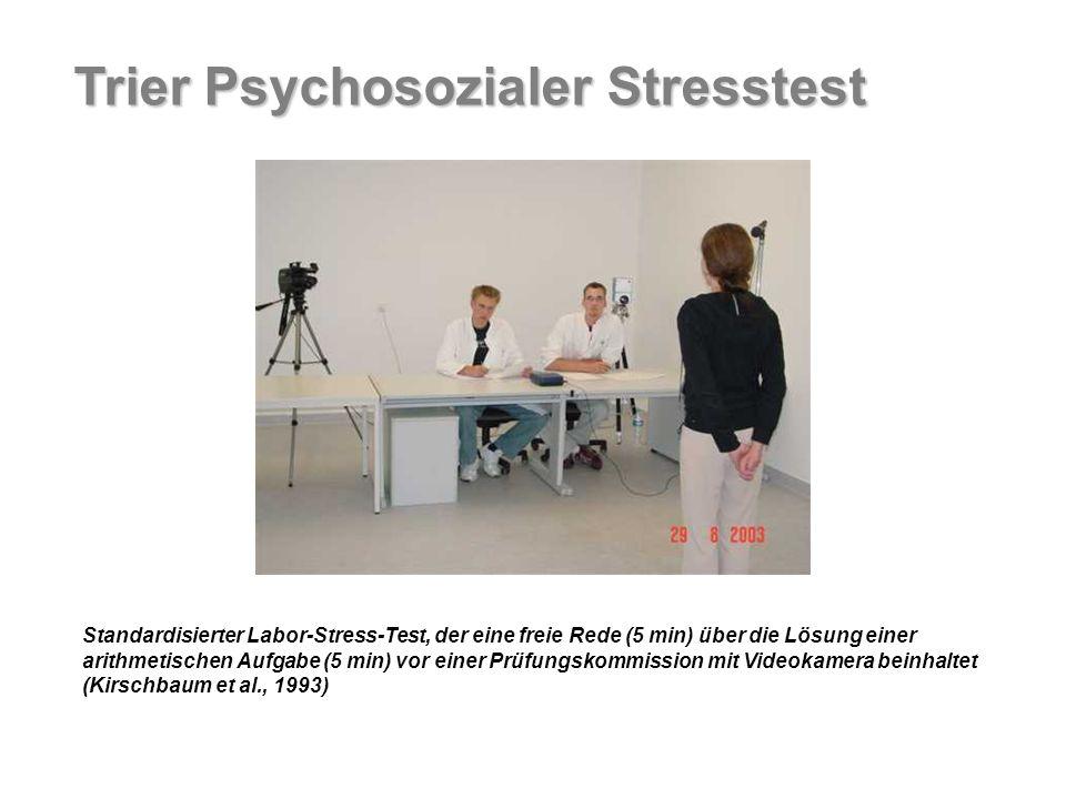 Standardisierter Labor-Stress-Test, der eine freie Rede (5 min) über die Lösung einer arithmetischen Aufgabe (5 min) vor einer Prüfungskommission mit Videokamera beinhaltet (Kirschbaum et al., 1993) Trier Psychosozialer Stresstest