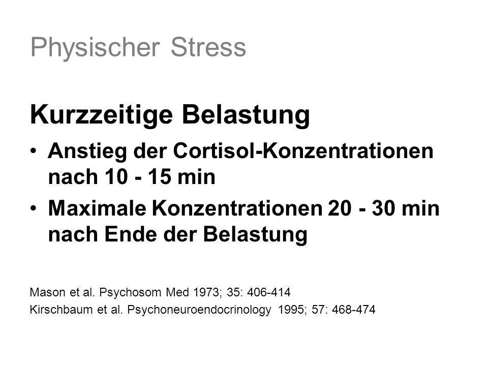 Physischer Stress Kurzzeitige Belastung Anstieg der Cortisol-Konzentrationen nach 10 - 15 min Maximale Konzentrationen 20 - 30 min nach Ende der Belastung Mason et al.