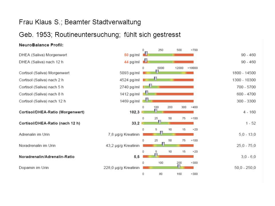 Frau Klaus S.; Beamter Stadtverwaltung Geb. 1953; Routineuntersuchung; fühlt sich gestresst