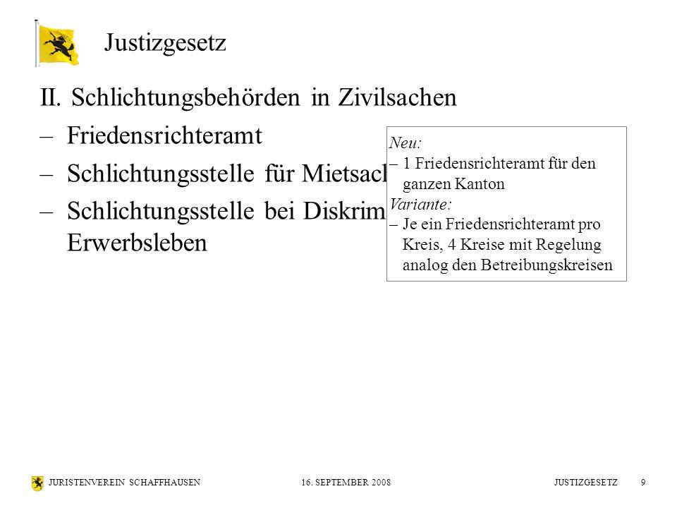 JURISTENVEREIN SCHAFFHAUSEN16. SEPTEMBER 2008 JUSTIZGESETZ9 II. Schlichtungsbehörden in Zivilsachen –Friedensrichteramt –Schlichtungsstelle für Mietsa