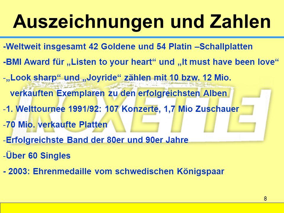 8 Auszeichnungen und Zahlen -Weltweit insgesamt 42 Goldene und 54 Platin –Schallplatten -BMI Award für Listen to your heart und It must have been love