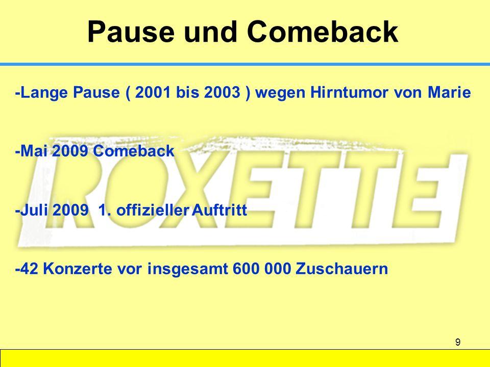 9 Pause und Comeback -Lange Pause ( 2001 bis 2003 ) wegen Hirntumor von Marie -Mai 2009 Comeback -Juli 2009 1. offizieller Auftritt -42 Konzerte vor i