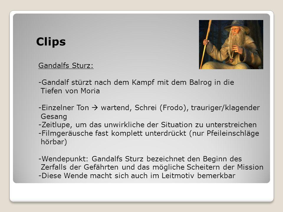 Clips Gandalfs Sturz: -Gandalf stürzt nach dem Kampf mit dem Balrog in die Tiefen von Moria -Einzelner Ton wartend, Schrei (Frodo), trauriger/klagende
