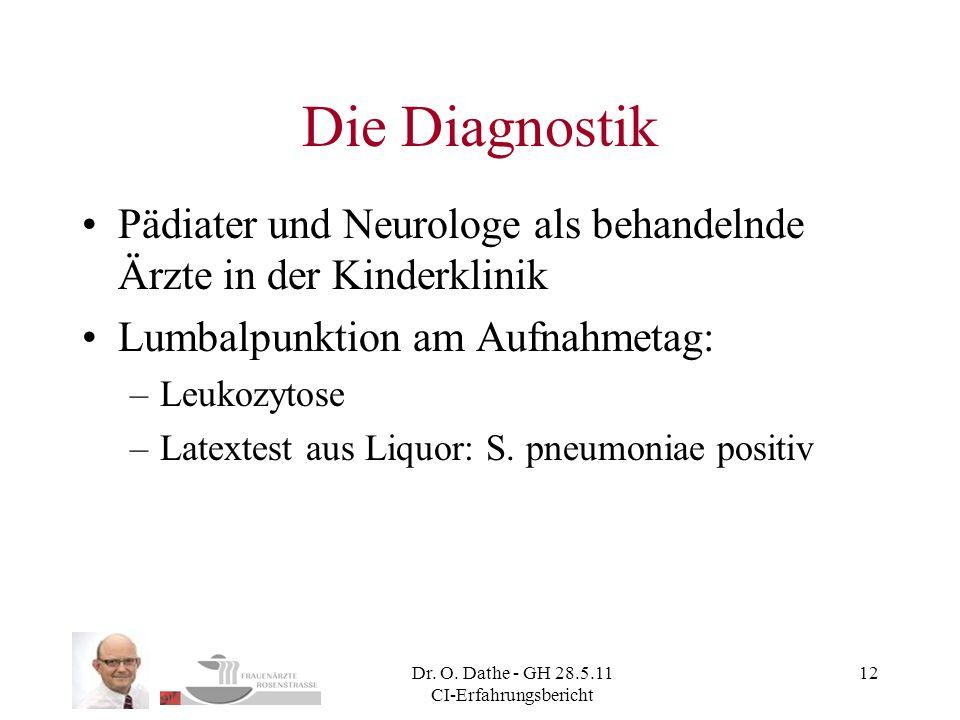 Dr. O. Dathe - GH 28.5.11 CI-Erfahrungsbericht 12 Die Diagnostik Pädiater und Neurologe als behandelnde Ärzte in der Kinderklinik Lumbalpunktion am Au