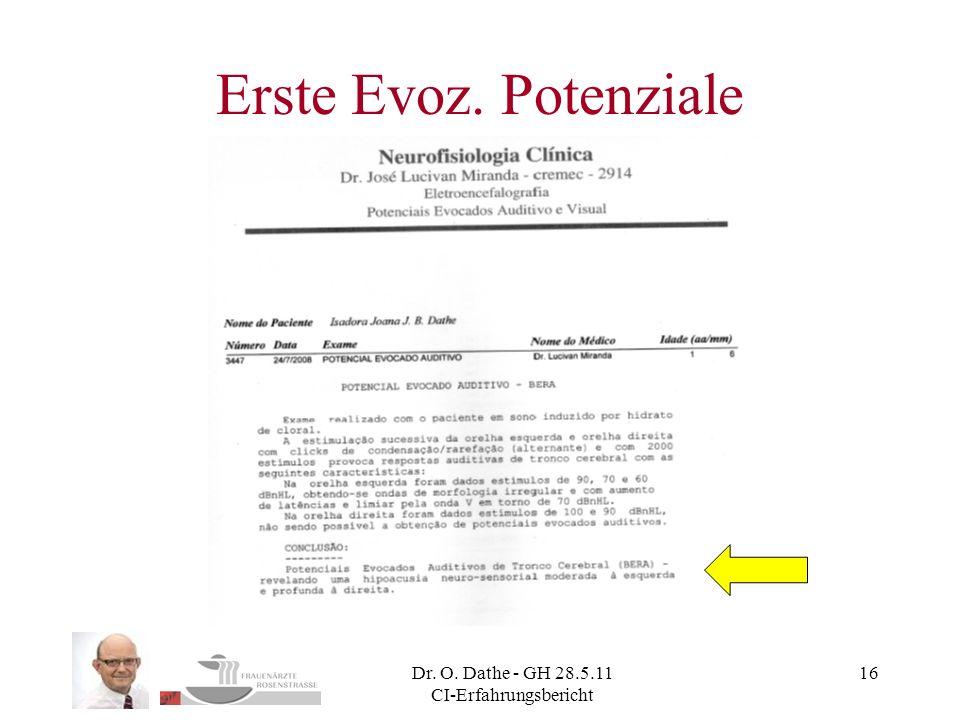 Dr. O. Dathe - GH 28.5.11 CI-Erfahrungsbericht 16 Erste Evoz. Potenziale