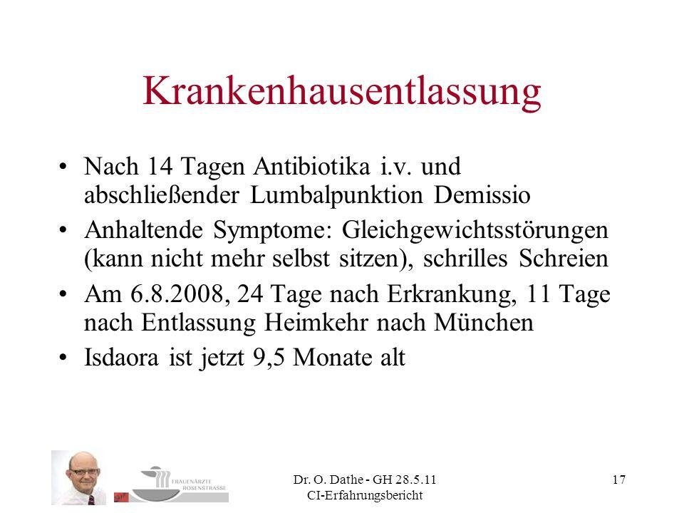 Dr. O. Dathe - GH 28.5.11 CI-Erfahrungsbericht 17 Krankenhausentlassung Nach 14 Tagen Antibiotika i.v. und abschließender Lumbalpunktion Demissio Anha