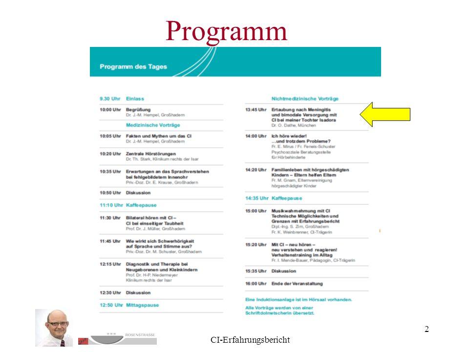 Dr. O. Dathe - GH 28.5.11 CI-Erfahrungsbericht 2 Programm