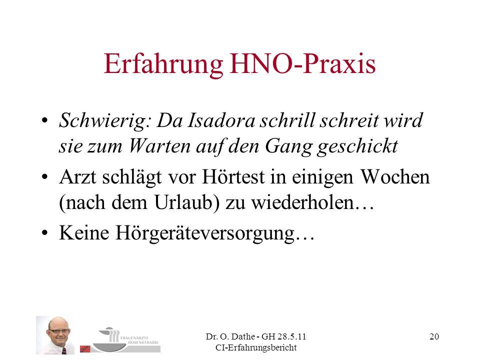 Dr. O. Dathe - GH 28.5.11 CI-Erfahrungsbericht 20 Erfahrung HNO-Praxis Schwierig: Da Isadora schrill schreit wird sie zum Warten auf den Gang geschick
