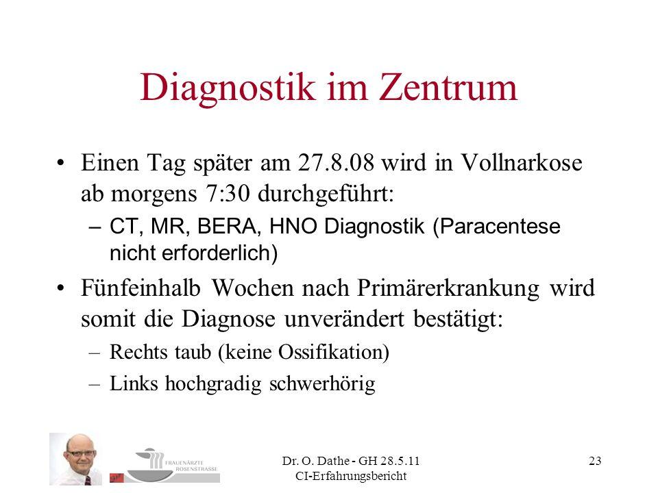 Dr. O. Dathe - GH 28.5.11 CI-Erfahrungsbericht 23 Diagnostik im Zentrum Einen Tag später am 27.8.08 wird in Vollnarkose ab morgens 7:30 durchgeführt: