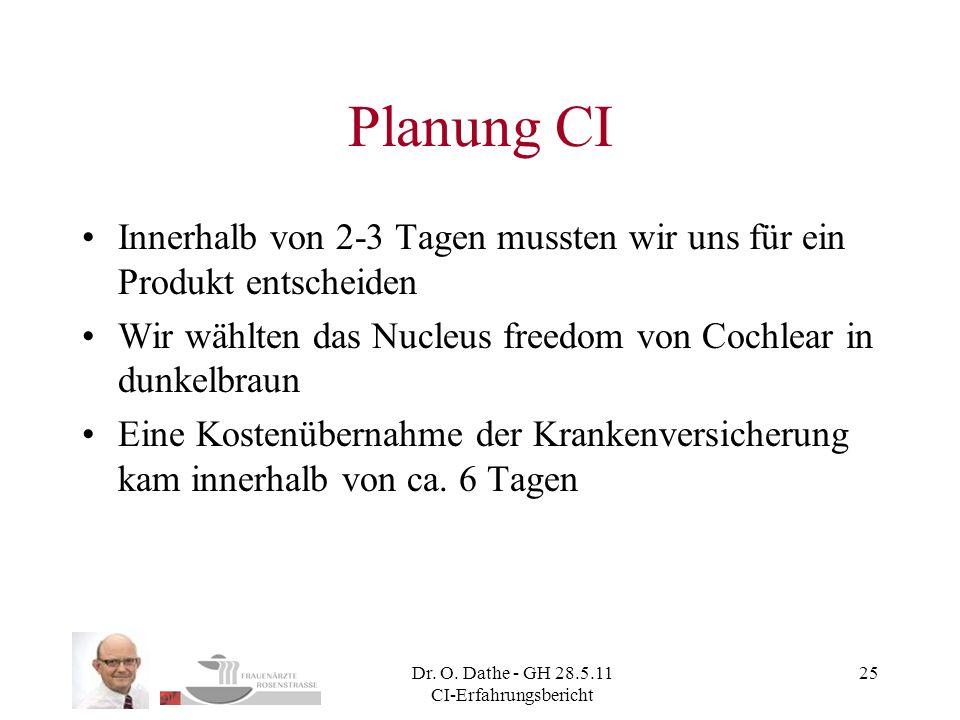 Dr. O. Dathe - GH 28.5.11 CI-Erfahrungsbericht 25 Planung CI Innerhalb von 2-3 Tagen mussten wir uns für ein Produkt entscheiden Wir wählten das Nucle