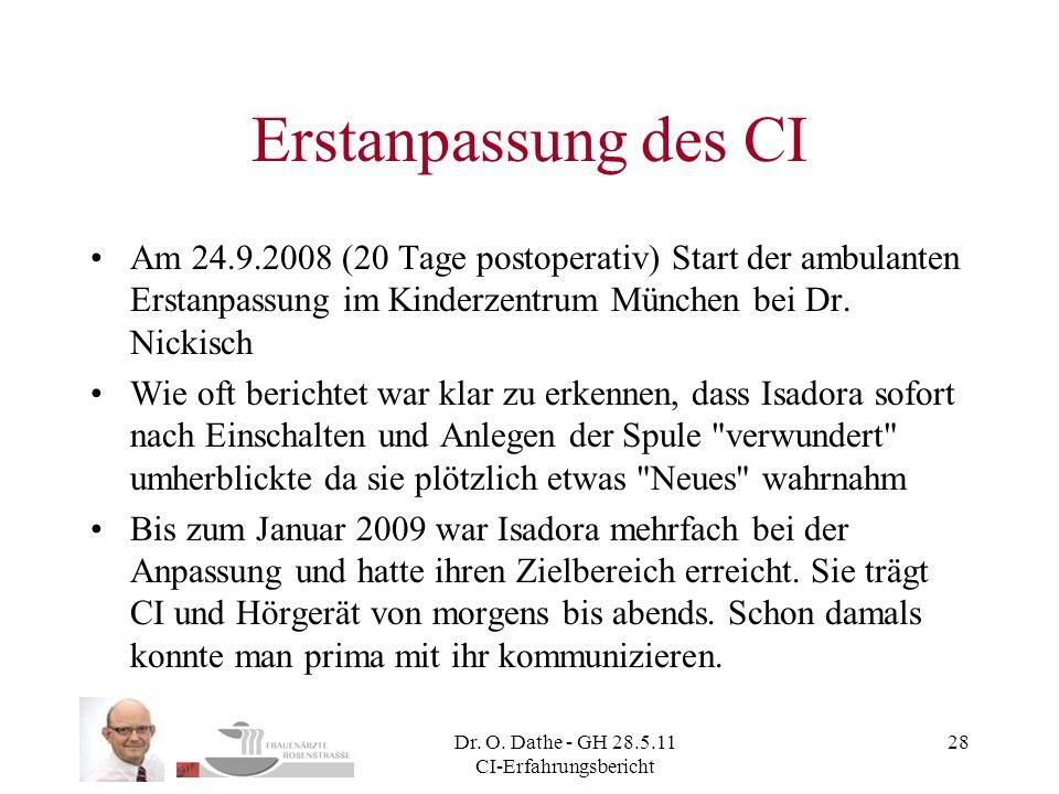 Dr. O. Dathe - GH 28.5.11 CI-Erfahrungsbericht 28 Erstanpassung des CI Am 24.9.2008 (20 Tage postoperativ) Start der ambulanten Erstanpassung im Kinde
