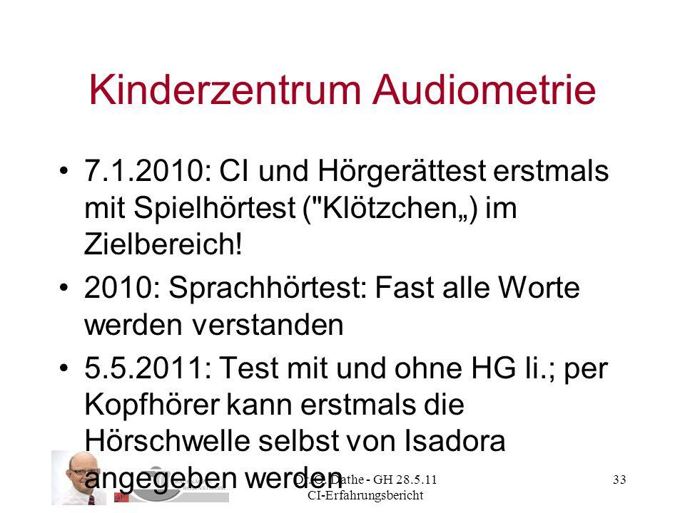 Dr. O. Dathe - GH 28.5.11 CI-Erfahrungsbericht 33 Kinderzentrum Audiometrie 7.1.2010: CI und Hörgerättest erstmals mit Spielhörtest (