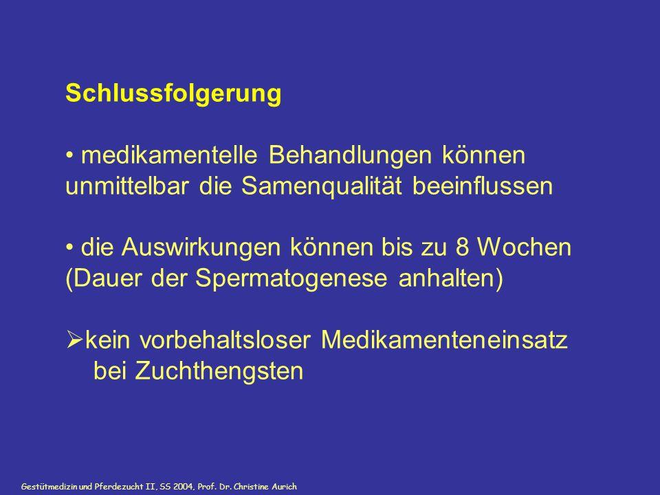 Gestütmedizin und Pferdezucht II, SS 2004, Prof. Dr. Christine Aurich Schlussfolgerung medikamentelle Behandlungen können unmittelbar die Samenqualitä