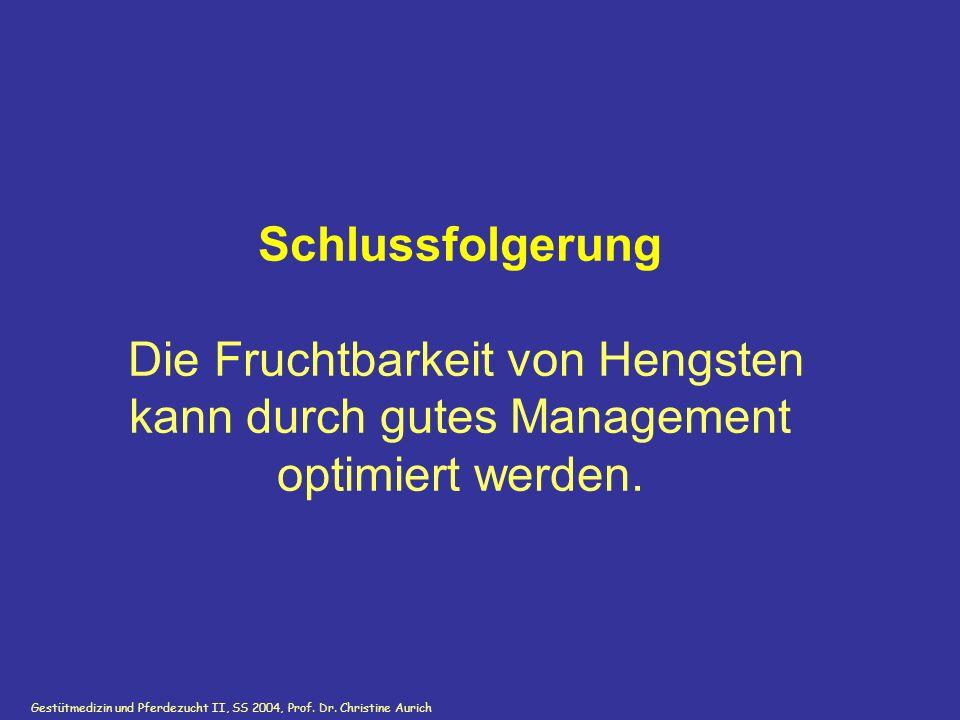 Gestütmedizin und Pferdezucht II, SS 2004, Prof. Dr. Christine Aurich Schlussfolgerung Die Fruchtbarkeit von Hengsten kann durch gutes Management opti