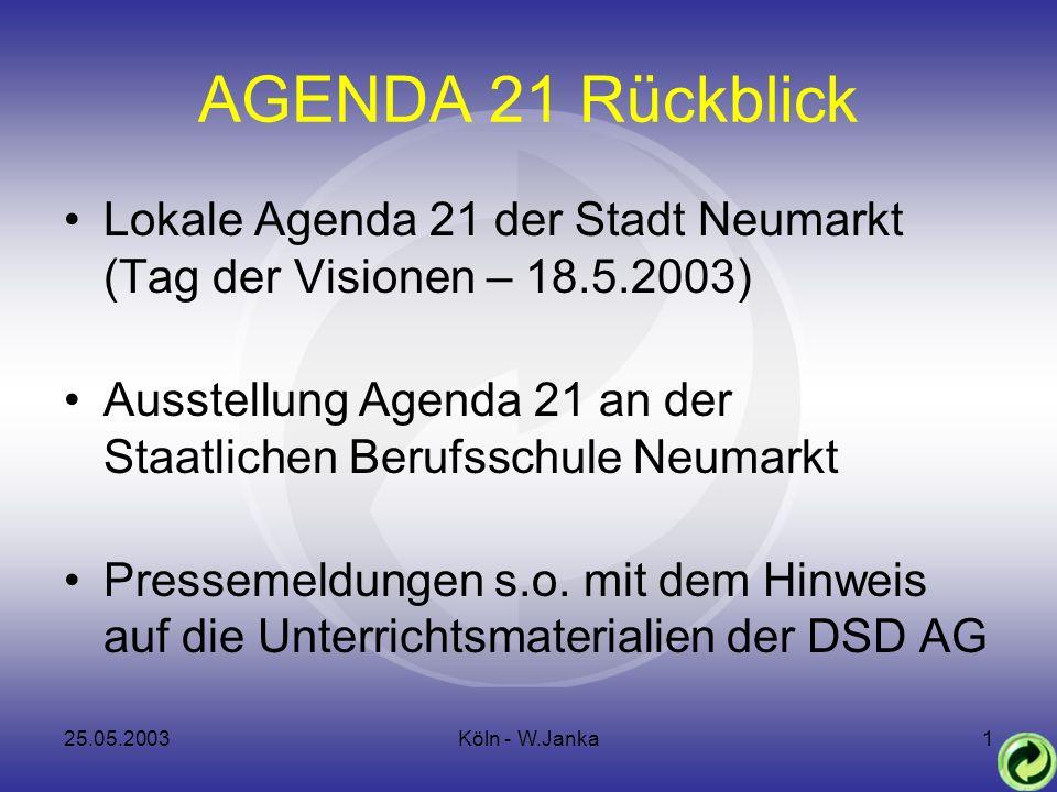 25.05.2003Köln - W.Janka1 AGENDA 21 Rückblick Lokale Agenda 21 der Stadt Neumarkt (Tag der Visionen – 18.5.2003) Ausstellung Agenda 21 an der Staatlichen Berufsschule Neumarkt Pressemeldungen s.o.