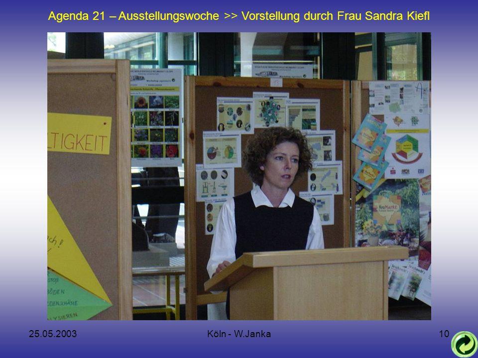 25.05.2003Köln - W.Janka10 Agenda 21 – Ausstellungswoche >> Vorstellung durch Frau Sandra Kiefl