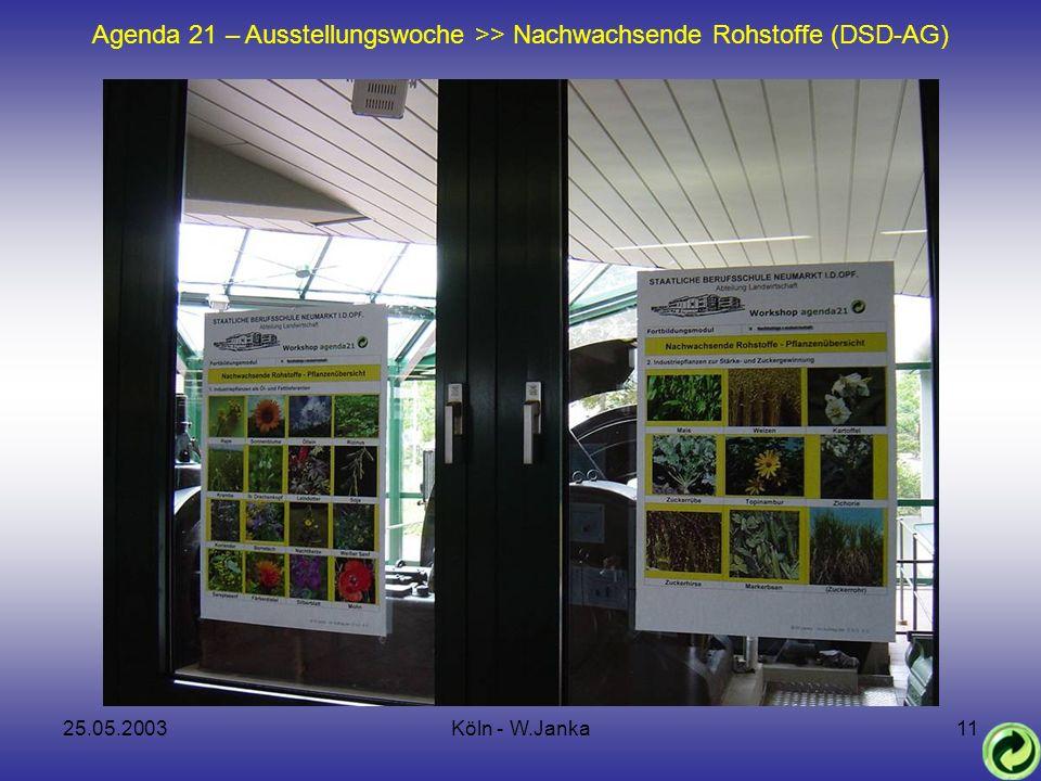 25.05.2003Köln - W.Janka11 Agenda 21 – Ausstellungswoche >> Nachwachsende Rohstoffe (DSD-AG)