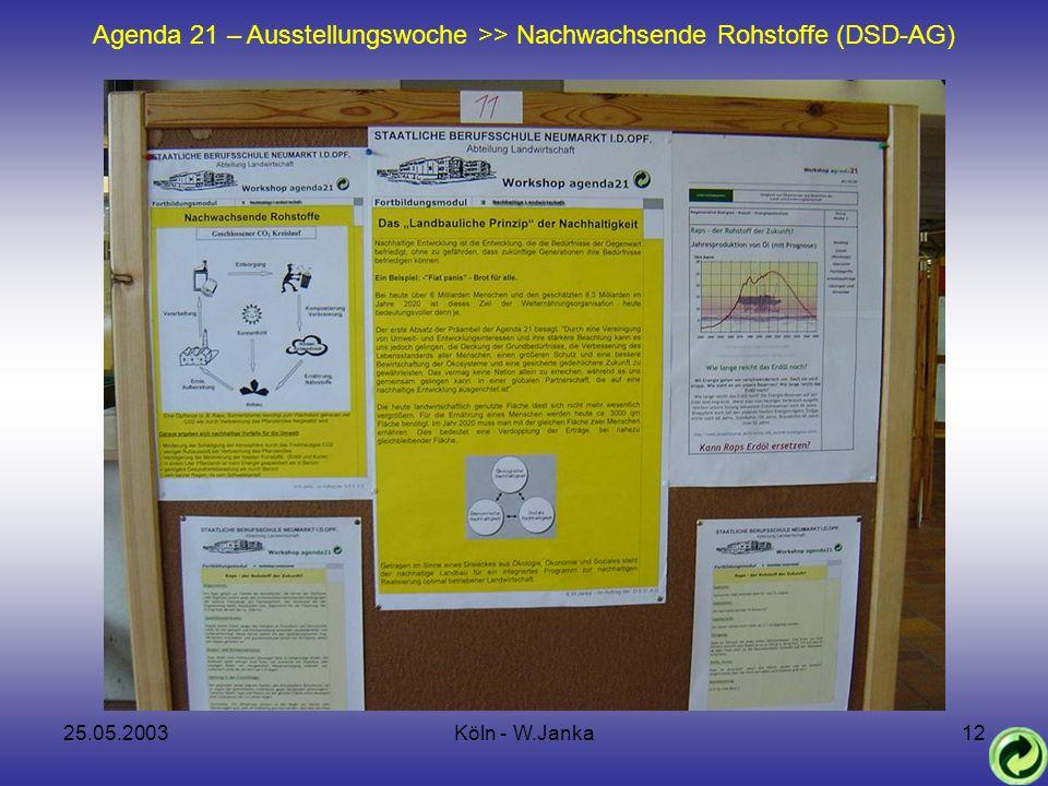25.05.2003Köln - W.Janka12 Agenda 21 – Ausstellungswoche >> Nachwachsende Rohstoffe (DSD-AG)