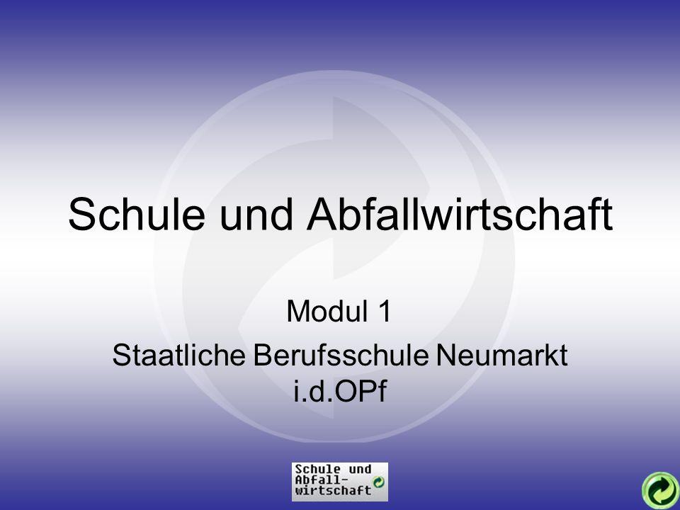 Schule und Abfallwirtschaft Modul 1 Staatliche Berufsschule Neumarkt i.d.OPf