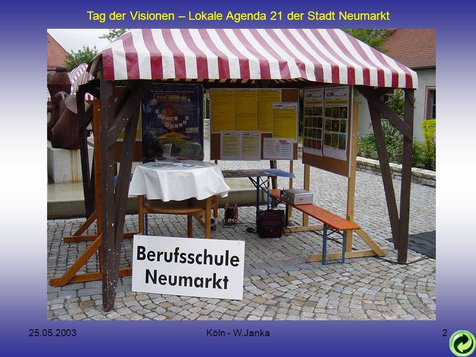 25.05.2003Köln - W.Janka2 Tag der Visionen – Lokale Agenda 21 der Stadt Neumarkt