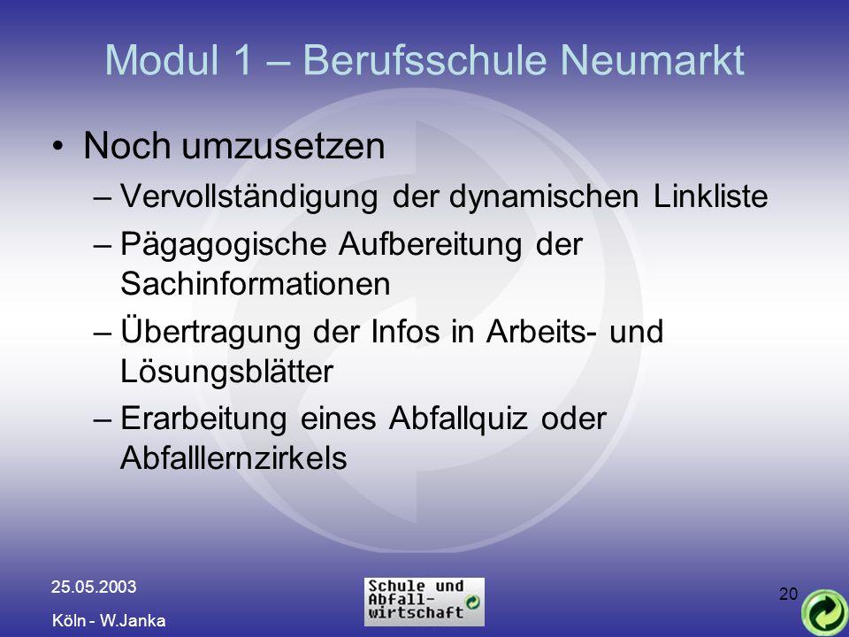 25.05.2003 Köln - W.Janka 20 Modul 1 – Berufsschule Neumarkt Noch umzusetzen –Vervollständigung der dynamischen Linkliste –Pägagogische Aufbereitung d