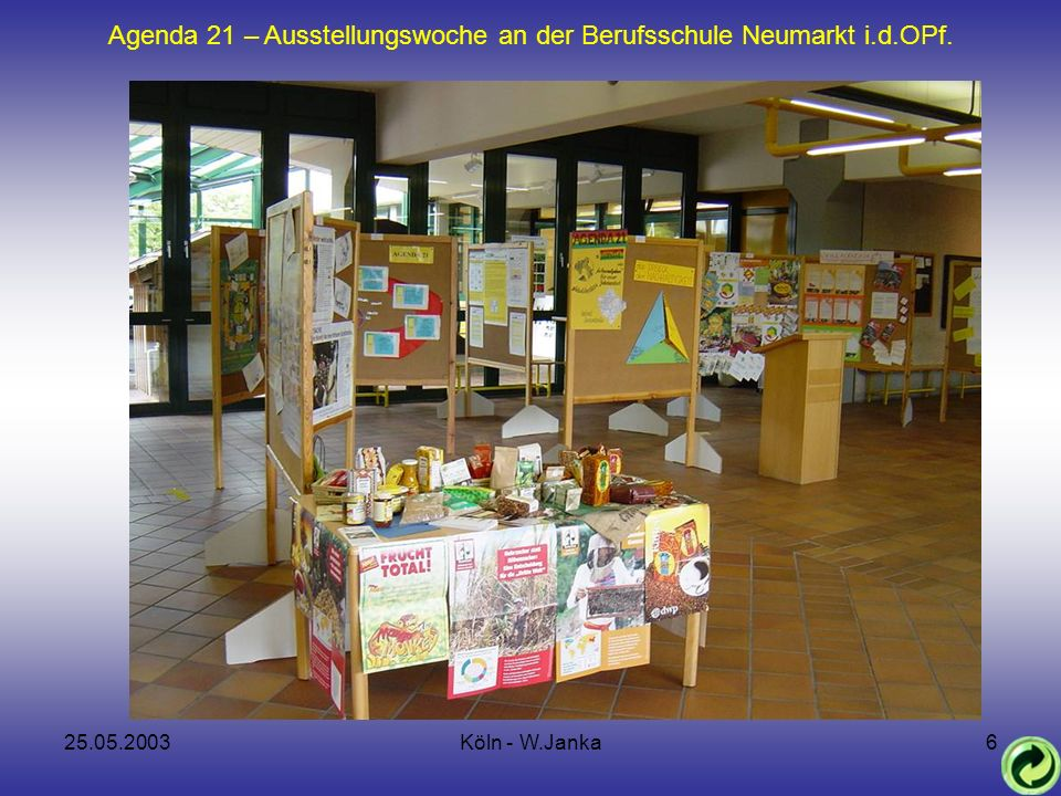 25.05.2003Köln - W.Janka7 Agenda 21 – Ausstellungswoche an der Berufsschule Neumarkt i.d.OPf.