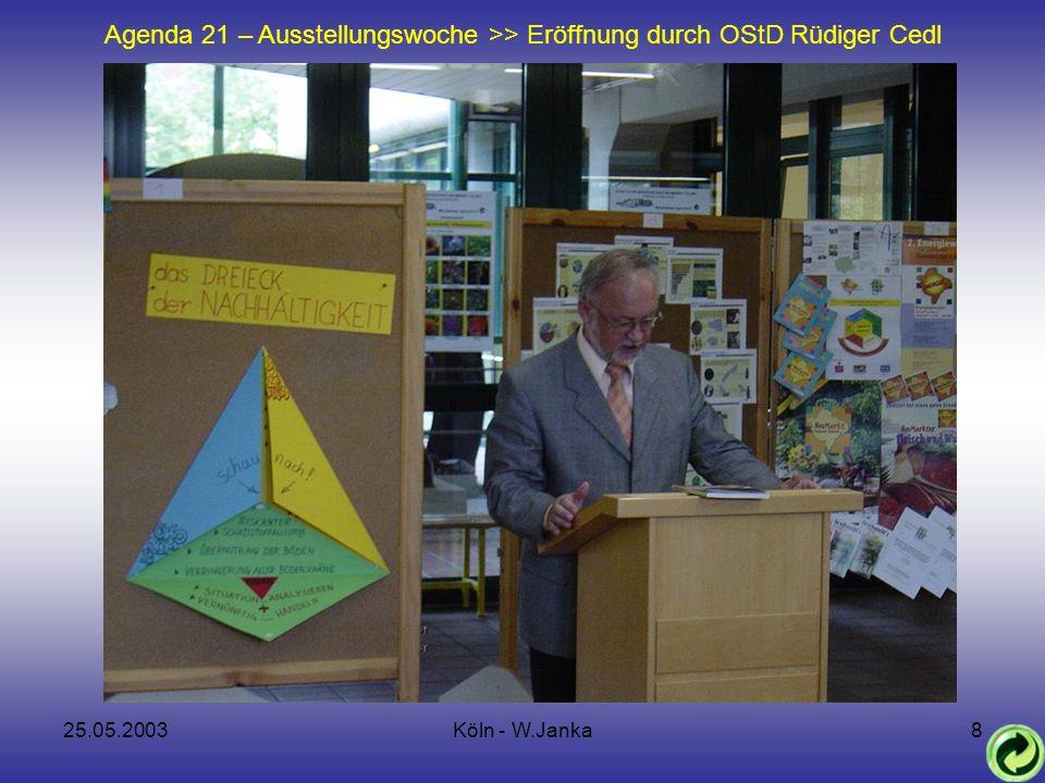 25.05.2003Köln - W.Janka8 Agenda 21 – Ausstellungswoche >> Eröffnung durch OStD Rüdiger Cedl