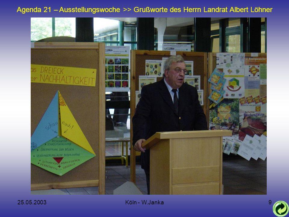 25.05.2003Köln - W.Janka9 AGENDA 21 Rückblick Agenda 21 – Ausstellungswoche >> Grußworte des Herrn Landrat Albert Löhner