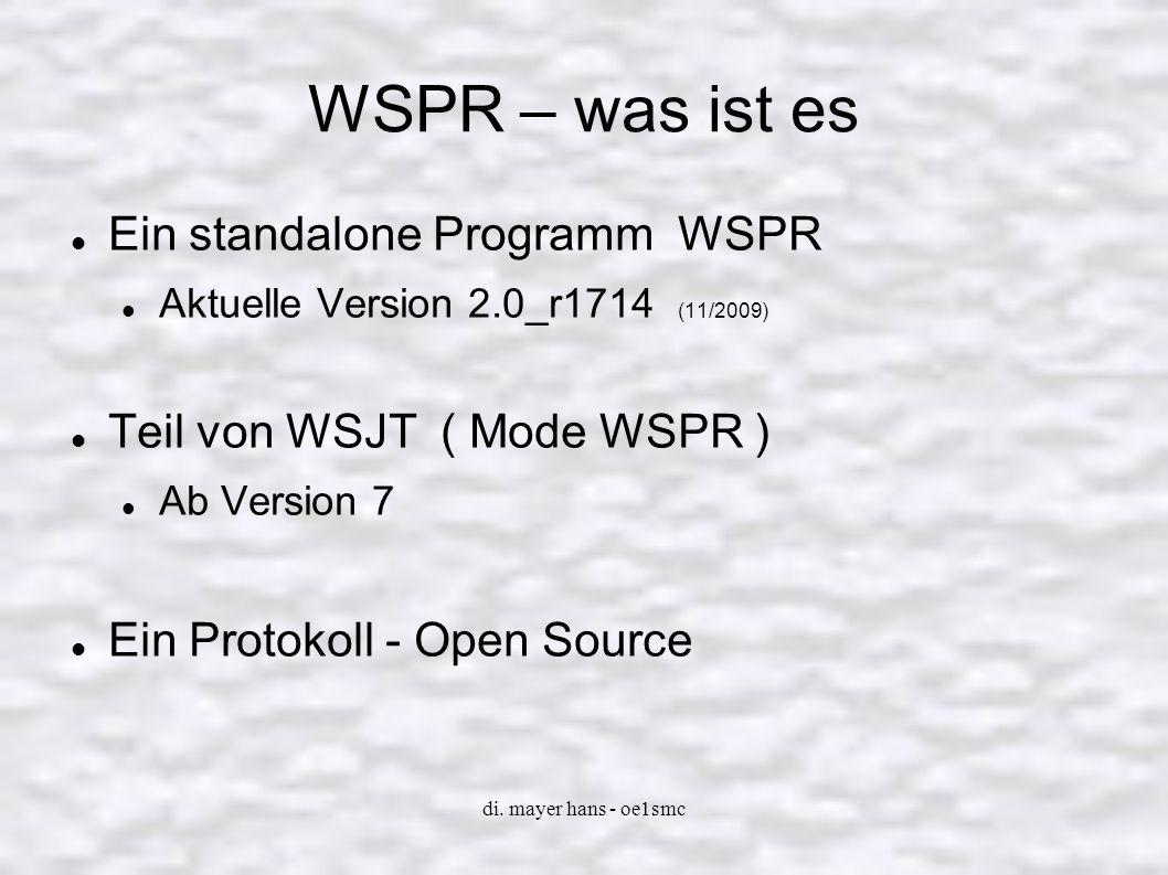 di. mayer hans - oe1smc WSPR – wofür steht es Weak Signal Propagation Reporter