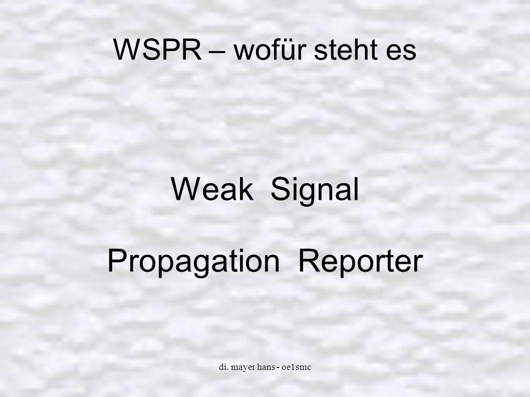 di.mayer hans - oe1smc WSPR – was kann es WSPR Beacon mode Autom.