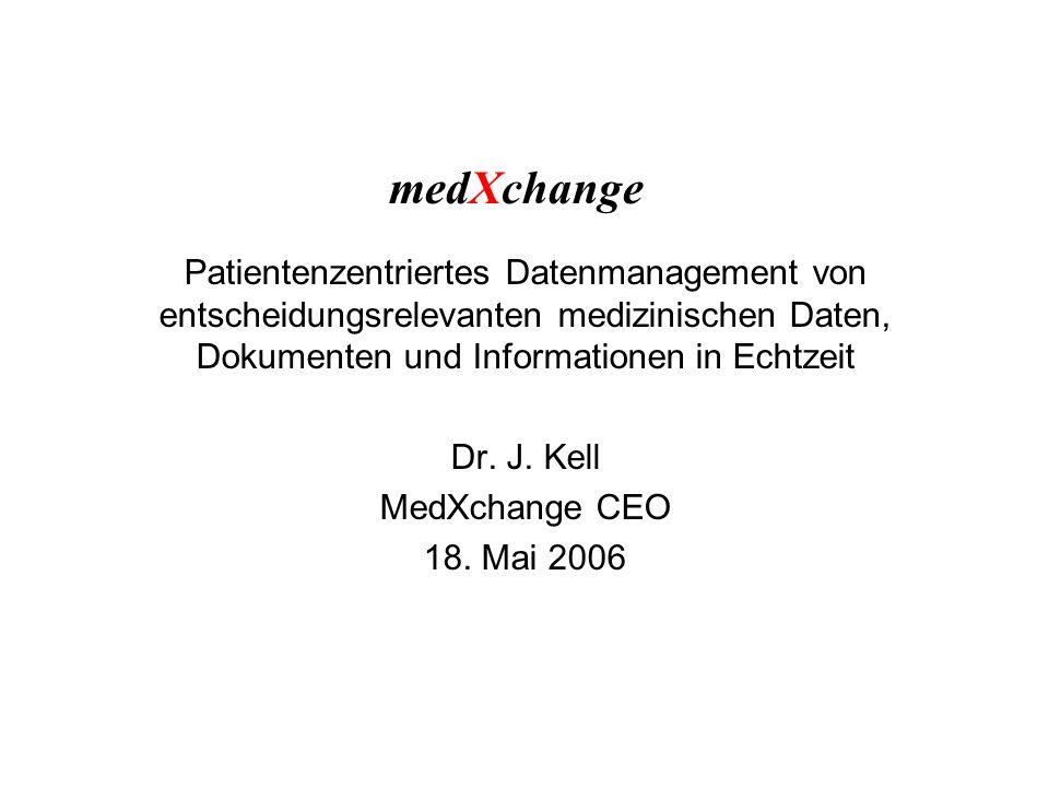 medXchange Patientenzentriertes Datenmanagement von entscheidungsrelevanten medizinischen Daten, Dokumenten und Informationen in Echtzeit Dr.