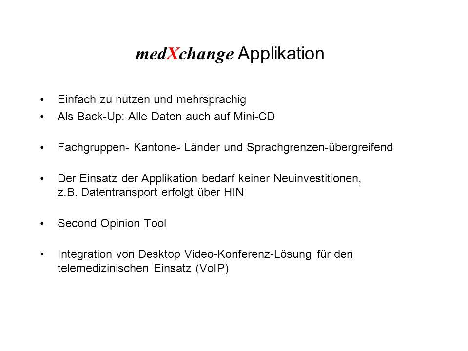 medXchange Applikation Einfach zu nutzen und mehrsprachig Als Back-Up: Alle Daten auch auf Mini-CD Fachgruppen- Kantone- Länder und Sprachgrenzen-übergreifend Der Einsatz der Applikation bedarf keiner Neuinvestitionen, z.B.