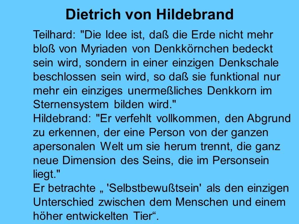 Dietrich von Hildebrand Teilhard:
