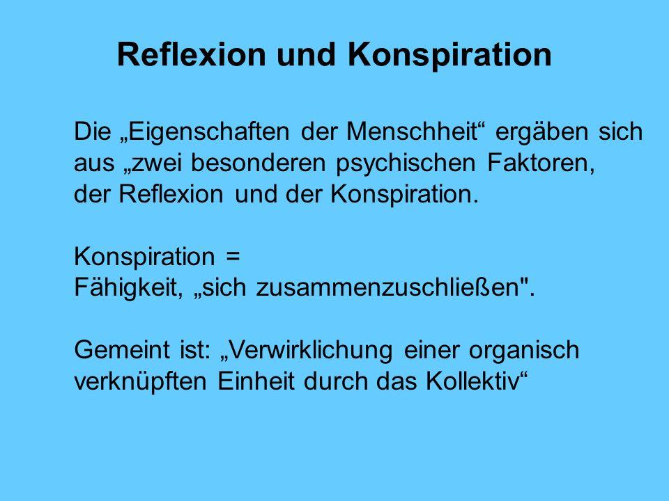Reflexion und Konspiration Die Eigenschaften der Menschheit ergäben sich aus zwei besonderen psychischen Faktoren, der Reflexion und der Konspiration.