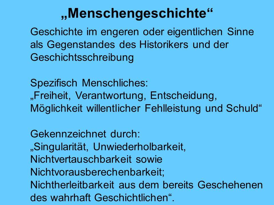 Menschengeschichte Geschichte im engeren oder eigentlichen Sinne als Gegenstandes des Historikers und der Geschichtsschreibung Spezifisch Menschliches