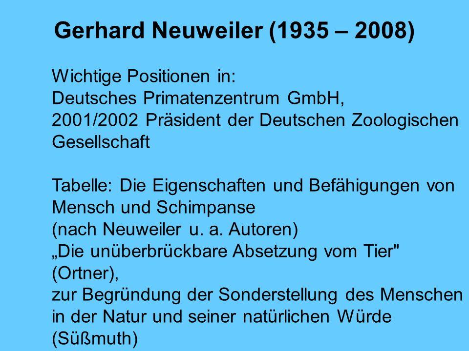 Gerhard Neuweiler (1935 – 2008) Wichtige Positionen in: Deutsches Primatenzentrum GmbH, 2001/2002 Präsident der Deutschen Zoologischen Gesellschaft Ta