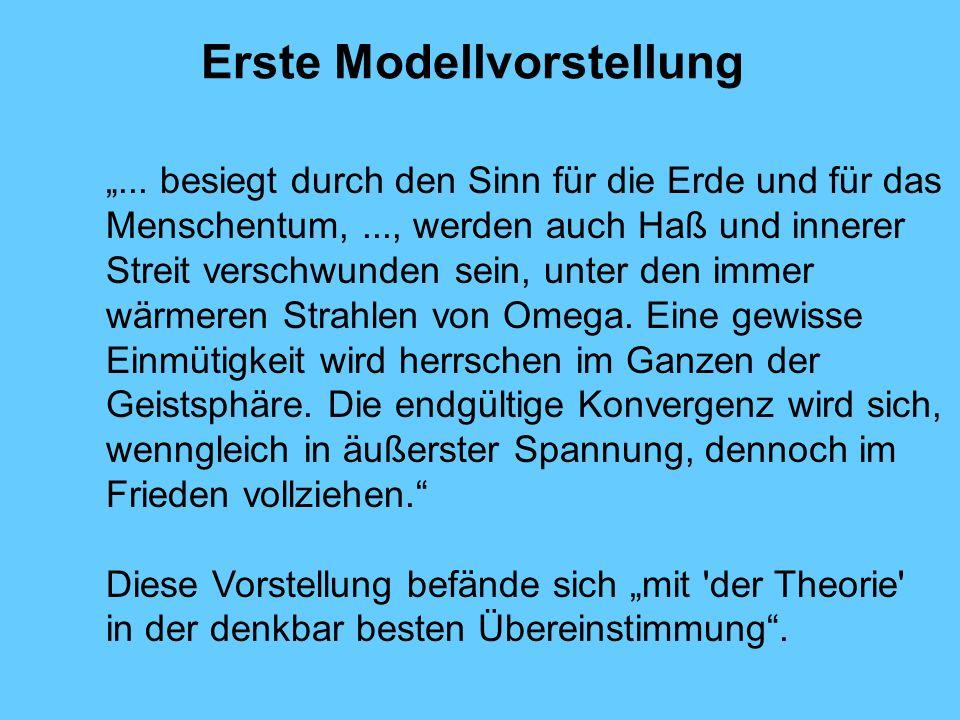 Erste Modellvorstellung... besiegt durch den Sinn für die Erde und für das Menschentum,..., werden auch Haß und innerer Streit verschwunden sein, unte