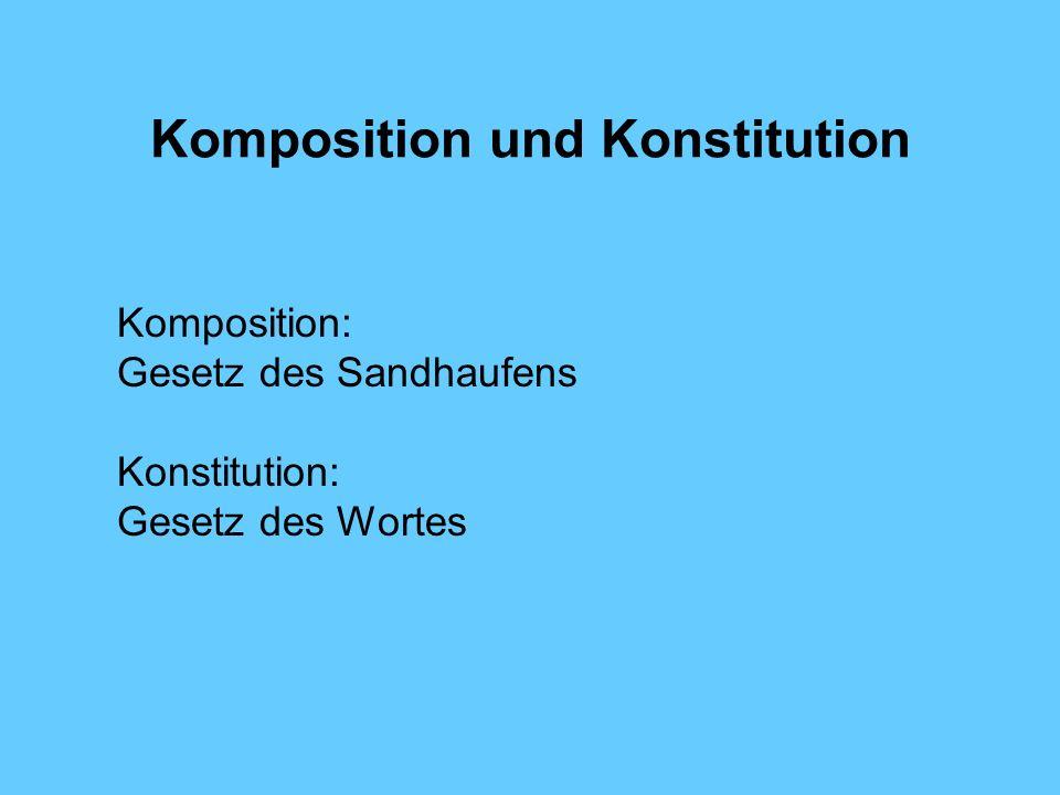Komposition und Konstitution Komposition: Gesetz des Sandhaufens Konstitution: Gesetz des Wortes